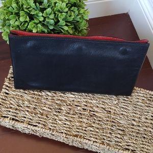Black Leather Clutch Tripple Snap Button Wallet